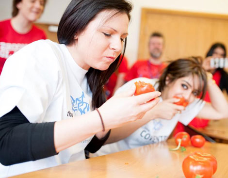 The Intermediary Sales tomato eating competition.