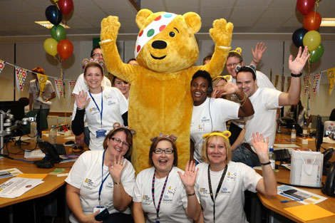 Pudsey at the Customer Service Centre.